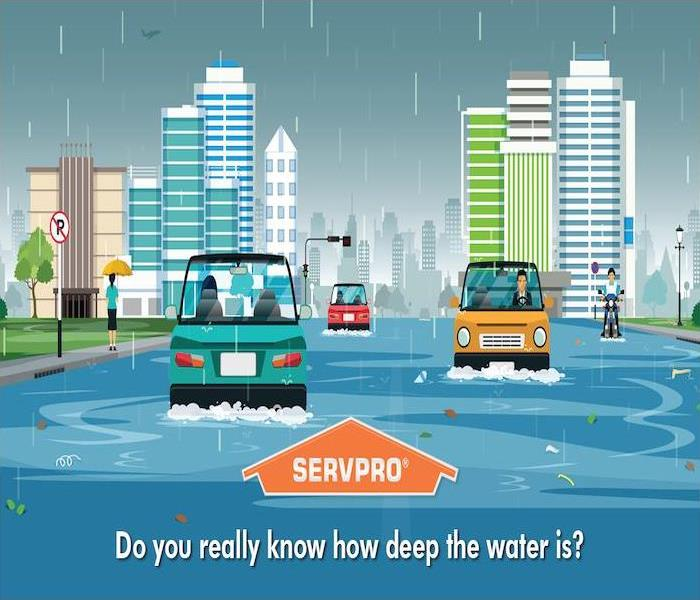 Cartoon cityscape with flooded street.