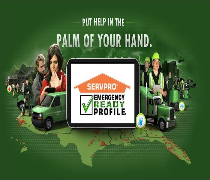 green background with group of people, tablet in the center with SERVPRO ERP app on tablet.