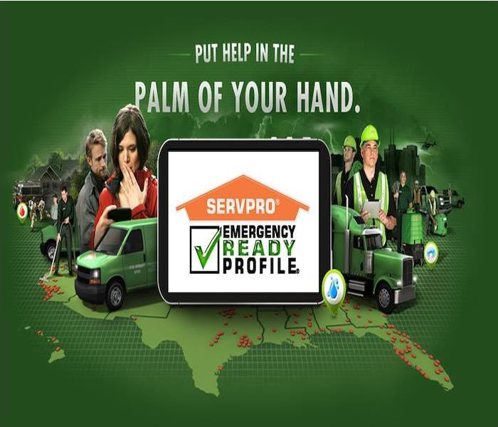 Green background with SERVPRO vehicles and technicians, iPad with SERVPRO ERP app loaded on it.