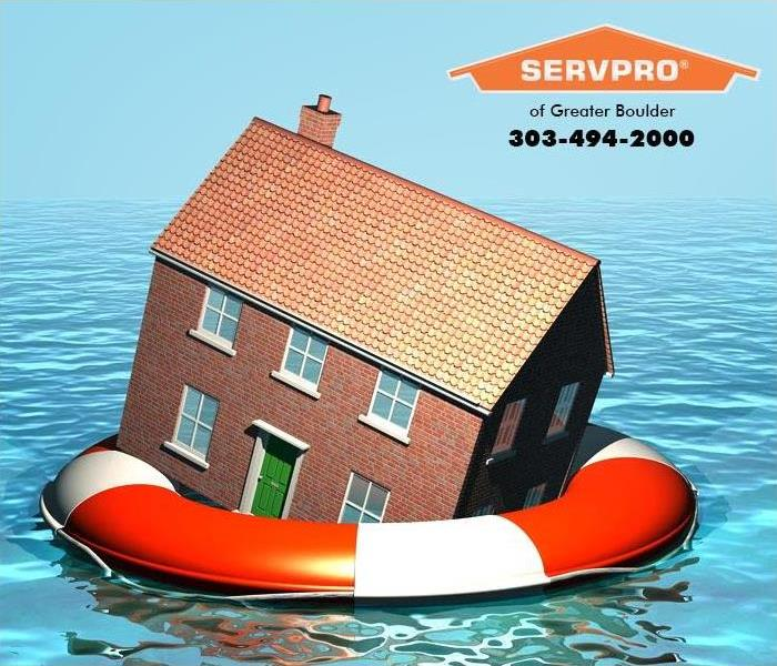 Photo of small house floating in flood waters inside an inner tube.