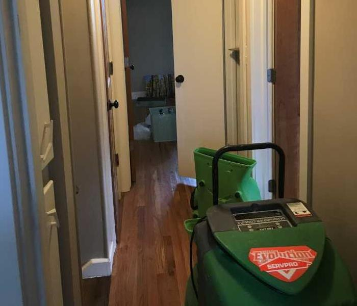 SERVPRO of Greater Boulder air mover drying out hallway