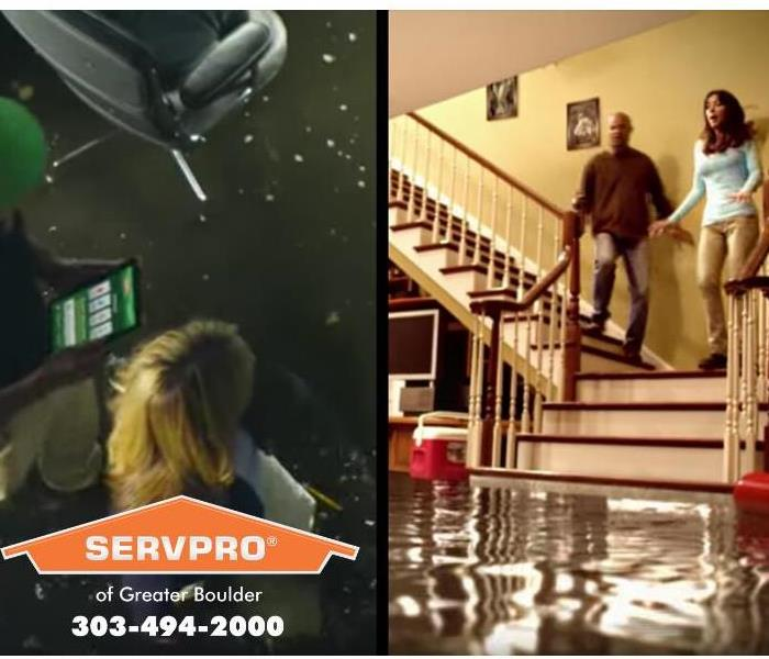 A SERVPRO technician is discussing services with a homeowner.