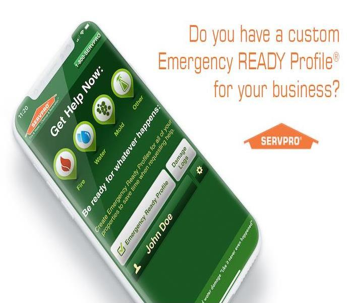 iPhone with SERVPRO Emergency Ready Profile on it.
